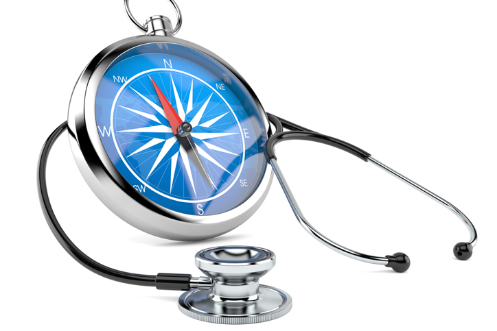 Healthcare compass with stethoscope